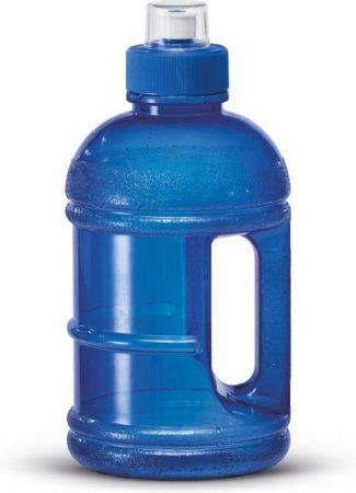 Afbeelding van Transparante 1x Blauwe kunststof bidon/drinkfles/waterfles 1250 ml - Sport bidon waterflessen - Push-pull dop