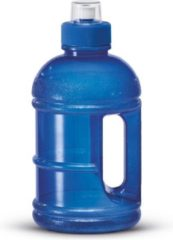 Transparante 1x Blauwe kunststof bidon/drinkfles/waterfles 1250 ml - Sport bidon waterflessen - Push-pull dop