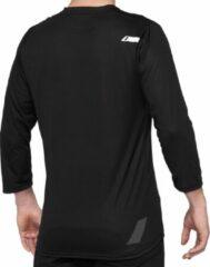 100% MTB Fietsshirt Driekwart Mouwen Airmatic Zwart - Zwart - M