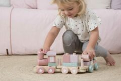 Little Dutch Speelgoed Houten Trein Met Blokken - Roze