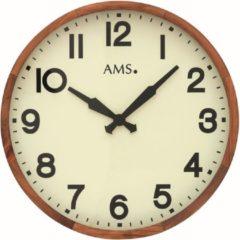 Bruine AMS 9535 Wandklok Hout met glas 40 cm ø