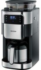 Severin Filterkaffeemaschine mit Mahlwerk und Edelstahl-Thermokanne, Koffiezetapparaat Zwart, RVS (geborsteld) Capaciteit koppen: 8 Display, Thermoskan, Met
