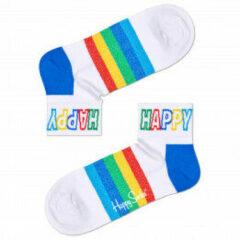 Happy Socks - Rainbow Stripe 1/4 Crew Sock - Multifunctionele sokken maat 41-46, wit/blauw