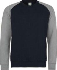 Marineblauwe AWDis Just Hoods Baseball sweatshirt, Kleur Oxford Navy/ Heather Grey, Maat XL