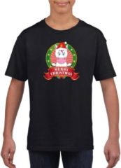 Bellatio Decorations Kerst t-shirt voor kinderen met eenhoorn print - zwart - Kerst shirts voor jongens en meisjes L (146-152)