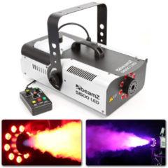 Grijze Rookmachine - BeamZ S1500LED rookmachine met 9x 3W RGB LED's, afstandsbediening met timer en DMX
