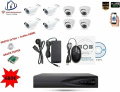 Witte Home-Locking camerasysteem met bewegingsdetectie en NVR 2.0MP H265 POE met 4 binnen en 4 buitencamera's 2.0MP CS-8-487D