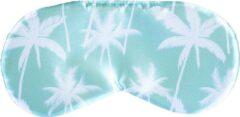Sundaze - Slaapmasker Palmboom blauw - Oogmasker Palmboom blauw - One Size Fits all - Satijn