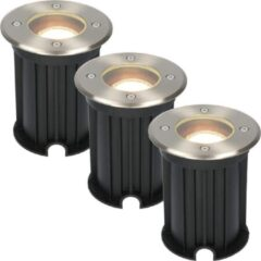 Roestvrijstalen HOFTRONIC™ 3x Maisy dimbare LED grondspot rond RVS 5W 2700K IP67 straal waterdicht 3 jaar garantie
