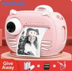 Minibear (NEW 2021) 4 in1 Digitale kindercamera 40MP HD Dual Lens 1080P HD Video / Instant Print / Siliconen Hoes - Roze