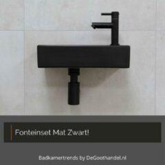 Degoothandel Fonteinset Chelsea Mat Zwart - Afvoerplug + Fonteinkraan + Sifon