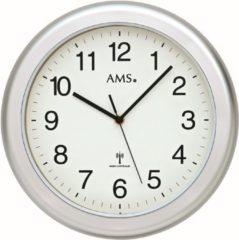 Zilveren AMS Badkamer-klok Radio-controlled Kunststof zilverkleurige rand F5956