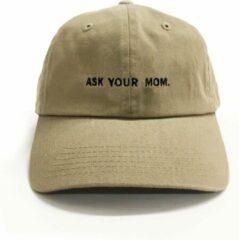 Dad Brand Pet ASK YOUR MOM - Premium Baseball Cap - Zandkleurig - One-Size Dad Pet Heren