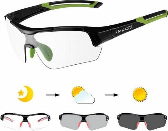 Afbeelding van Falkann Elite Fietsbril / Sportbril Groen - Met Meekleurende Glazen