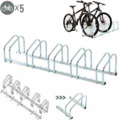 Zilveren NiceGoodz Fietsenrek - Fietsrek -Fietsstandaard - Voor 5 fietsen - Muurmontage mogelijk - 130 x 33 x 27 cm - Verzinkt staal