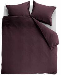 Rode Ambiante Cotton Uni Dekbedovertrek - Lits-jumeaux (260x200/220 Cm + 2 Slopen) - Katoen - Dark Red