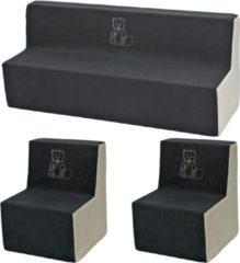 Go Go Momi Zachte Foam meubels borduurwerk set: 2xbank + Bank voor kinderen, kinderen, comfortabel, ontspannen - grijs en beige