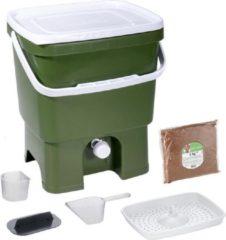 Groene Skaza Exceeding Expectations Skaza Bokashi Organko keukencompostbak van gerecycleerd plastic |16 L| Starter Set bvoor keukenafval en compostering | met EM zemelen 1 kg