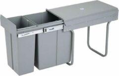 4cookz inbouw afvalscheidingsprullenbak 10+20 liter - grijs - 30cm