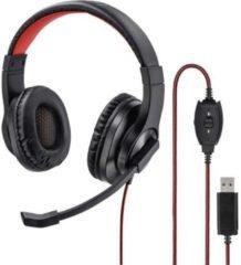 Hama HS-USB400 Headset USB Stereo, Kabelgebonden Over Ear Zwart, Rood