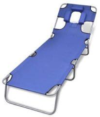 Blauwe VidaXL Ligstoel met hoofdkussen en verstelbare rugleuning inklapbaar blauw