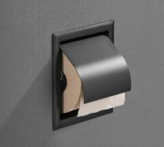 Saniclear Nero inbouw toiletrol houder met klep mat zwart