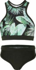 Groene La V Bikini sport basic Palm leaf 152-158