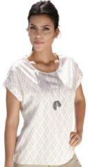 Naturelkleurige Creation L blouse met ruitdessin