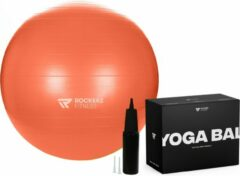 Rockerz Fitness Fitness bal - Yoga bal - Fitness bal 55 cm - Pilates bal - Gymbal - Gymbal 55 cm - Zitbal - Zwangerschapsbal - Kleur: Oranje - Beste Fitnessbal 2020