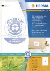 Adresetiketten Herma 10830 199,6x143,5 mm natuurlijk wit gerecycled papier mat Blauer Engel 200 st.