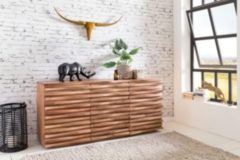 Wohnling Sideboard KADA 160 x 75 x 43 cm Massiv-Holz Akazie Natur Baumkante Anrichte Landhaus-Stil Kommode mit Schubladen & Türen Flur Schrank Stand