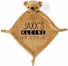 Bruine Livingstickers Knuffeldoekje beertje met kleine vriendje met naam-persoonlijk kraamcadeau