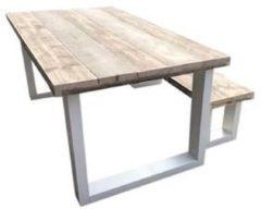 Bruine Wood4you - New England combideal Eettafel + Bankje - 180Lx90Hx78D cm