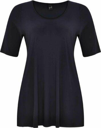 Afbeelding van Marineblauwe Yoek | Grote maten - dames t-shirt korte mouw - donkerblauw