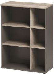 Gamillo Furniture Open Boekenkast Jazz 3 van 114 cm hoog in grijs eiken met grijs