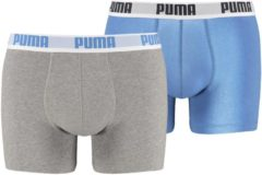 Blauwe PUMA Boxershort Heren PUMA BASIC BOXER 2-pack - Blue / Grey - Maat S