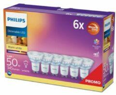 Philips LED Energielabel A+ (A++ - E) GU10 Reflector 3.8 W = 50 W Warmwit (Ã x l) 5 cm x 5.4 cm Dimbaar (warmglow) 6 stuk(s)