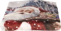 Clayre & Eef Plaid KT060.090 130*170 cm Meerkleurig Polyester Rechthoek Kerstman Deken Kleed Dekentje