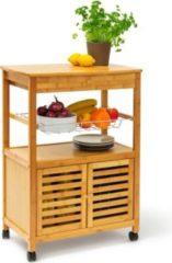 Relaxdays Küchenrollwagen JAMES XL mit Schrankfach