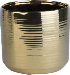 Goudkleurige Cosy @ Home 1x Gouden ronde plantenpotten/bloempotten Cerchio 16,5 cm keramiek - Plantenpot/bloempot metallic goud - Woonaccessoires