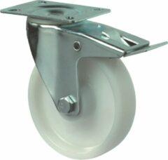 Kelfort Zwenkwiel polyamide wiel met rollager + rem, wit 150kg m/rem 125mm