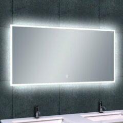 Douche Concurrent Badkamerspiegel Wiesbaden Quatro 120x60cm Geintegreerde LED Verlichting Verwarming Anti Condens Touch Lichtschakelaar Dimbaar