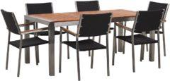 Beliani Tuinset eucalyptushout 180 x 90 cm met 6 stoelen rotan zwart GROSSETO