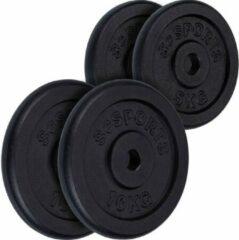 Zwarte ScSPORTS® Halterschijven set 30 kg - Gietijzer - Boring 30 mm - 2x5 - 2x10 kg - Gewichten