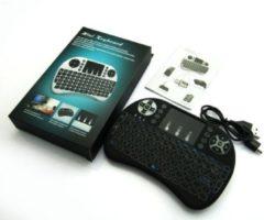 Zwarte Draadloos mini toetsenbord met touchpad Airmouse muis + oplaadbare accu - Geschikt voor elk apparaat met Bluetooth (TV, iPad, Tablet, PC etc)