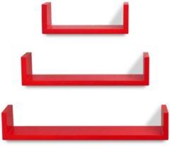 VidaXL Wandplanken U-vormig MDF zwevend voor boeken/dvd 3 st rood