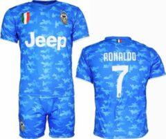 Merkloos sans marque juventus replica cristiano ronaldo cr7 alternatief 3e tenue camouflage voetbal t shirt broek set blauw