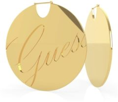 Witte Guess stalen goldplated oorbellen disc logo LIQUID
