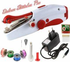 Deluxe Stitcher Pro - PREMIUM Handnaaimachine met Adapter + 11 Reserve naalden en accessoires - Mini naaimachine - Compact - Draadloos - Draagbare Reis Hand Naaimachine - Elektrisch of op Batterijen