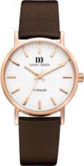 Roze Danish Design watches titanium dameshorloge Rhine Rosegold Brown Medium IQ17Q199